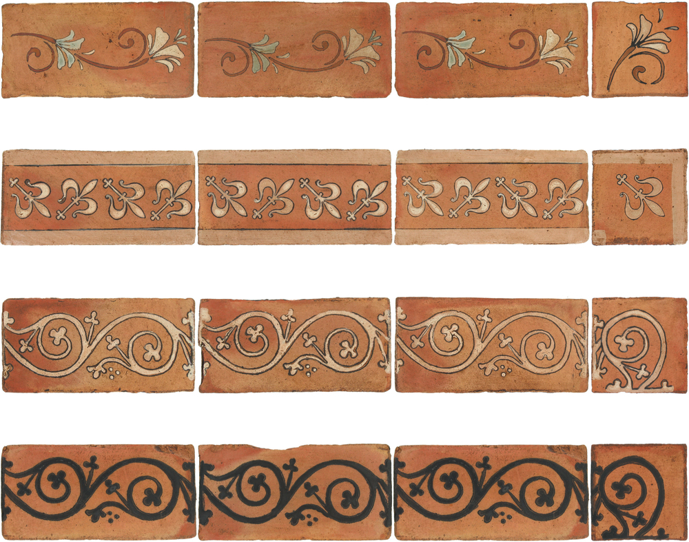 Pedralbes Antique Terracotta  Hand-Painted GLAZED Designs  BORDERS & CORNERS  GF-11+21-NT-PSTR   GH-11+21-AW-PSTR    GS-11+21-AW-PSTR      GS-11+21-SB-PSTR