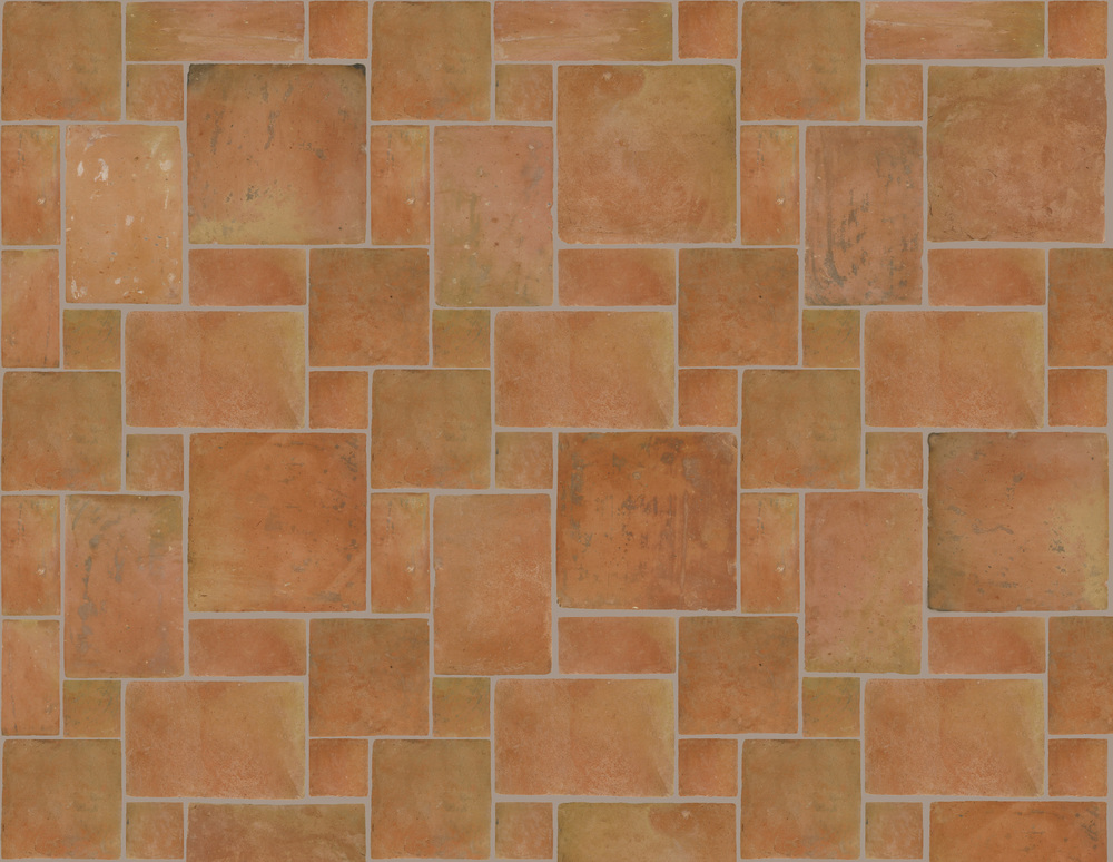 GREDOS Reclaimed Style Terracotta  5 Tile Pattern  Option A - Large:  4x4, 4x8, 8x8, 8x12 and 12x12  Option B - Medium:  3x3, 3x6, 6x6, 6x9 and 9x9  Option C - Small:  2x2, 2x4, 4x4, 4x6 and 6x6