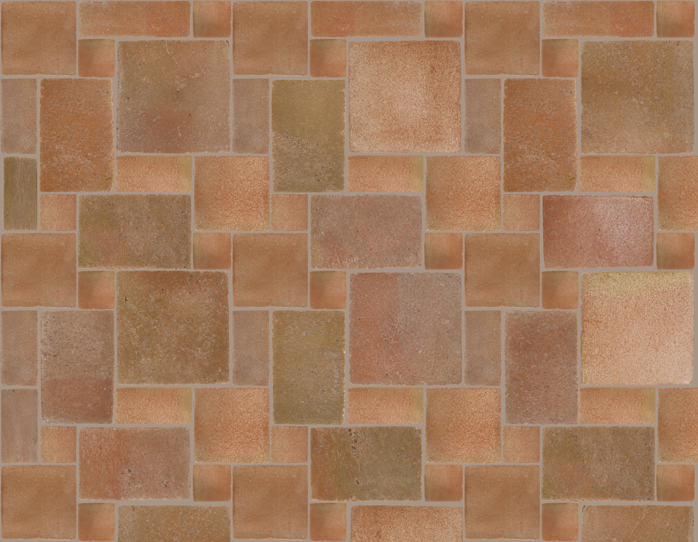 POBLET Reclaimed Style Terracotta  5 Tile Pattern  Option A - Large:  4x4, 4x8, 8x8, 8x12 and 12x12  Option B - Medium:  3x3, 3x6, 6x6, 6x9 and 9x9  Option C - Small:  2x2, 2x4, 4x4, 4x6 and 6x6