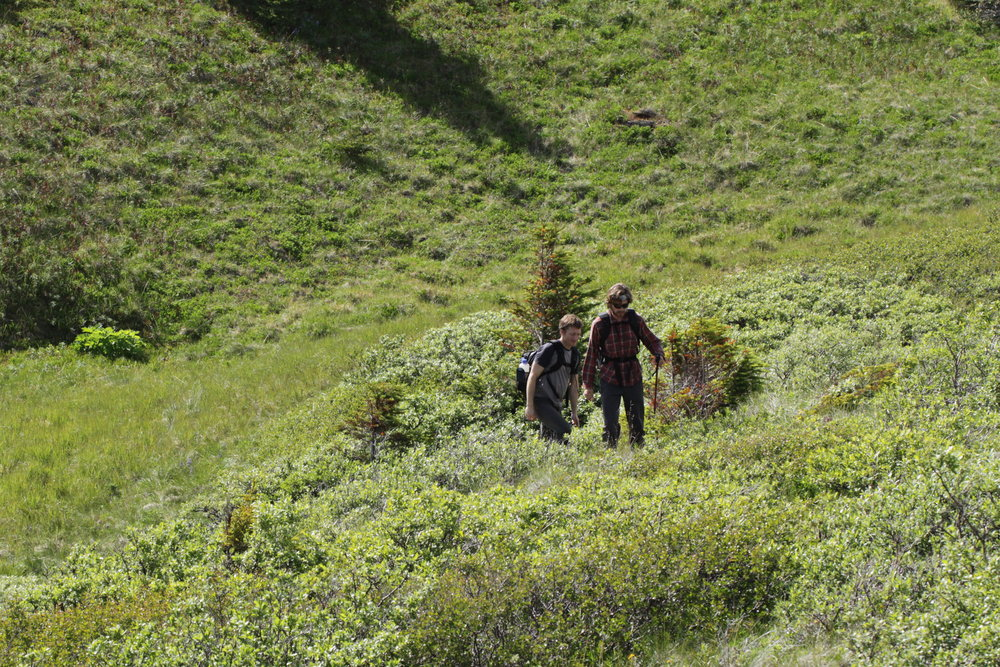 Trevor and Damon follow some of the animal trails. It's actually easy to get disoriented while walking in such a vast landscape.