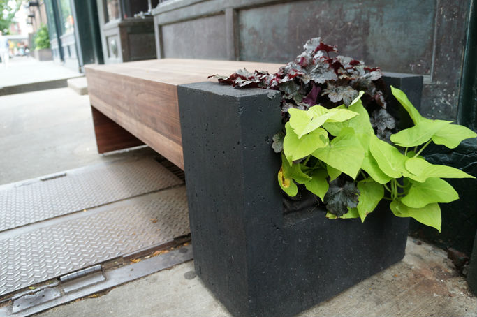 Prior to Cloud Farms, Bradley was already greening the city. This was a simple yet sophisticated integration of nature on Bleecker Street that he designed outside the Coach storefront.
