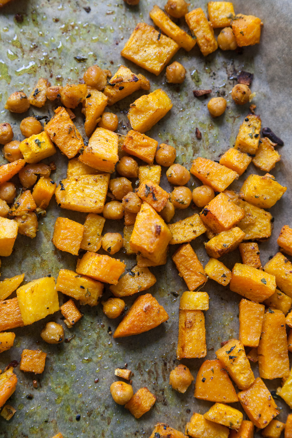 The butternut squash and chickpeas will cook up nicely within the oven and can also be added to the grain afterwards.