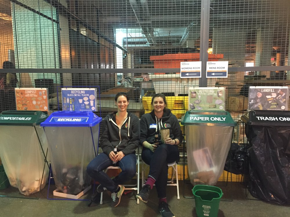 Laura Rosenshine (left) is passionate about composting and recycling (if you can't tell). Photo courtesy of Laura Rosenshine.