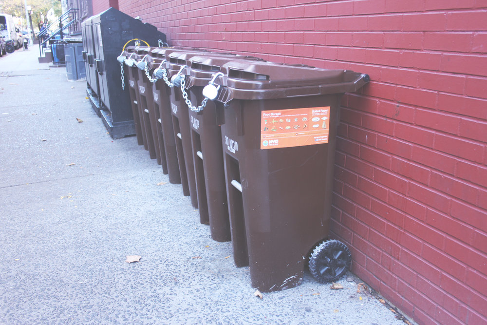 Brown bins will be popping up everywhere throughout NYC by 2018. This is the start of the curbside organics pick-up to help divert food and yard waste from landfills. Photo courtesy of Laura Rosenshine.