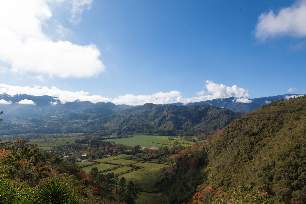 One of the views from the El Salto Ecolodge, which overlooks the Orosí Valley.