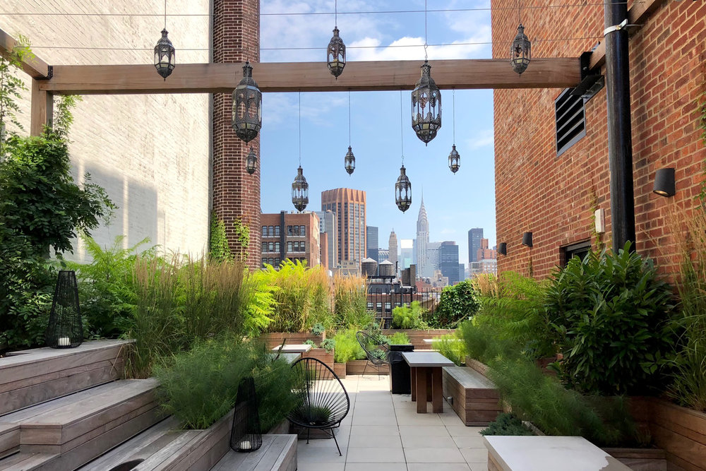 A photo of the landscaped area of The Assemblage in New York. Photo by: Morano Landscape & Garden Design