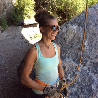 Maggie Odette wearing Belay Glasses by Belay Optics
