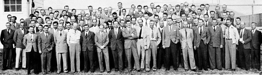 Assembled group of German scientists, engineers and technicians brought to the United States in Operation Paper Clip in 1945-46