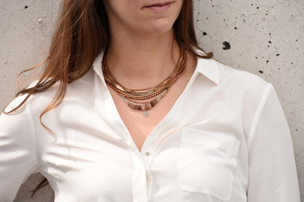 Kaia Necklace   in  Aquamarine layered with the    Calypso Statement Necklace   in  Aquamarine  (with  Copper Rutilated Quartz ).