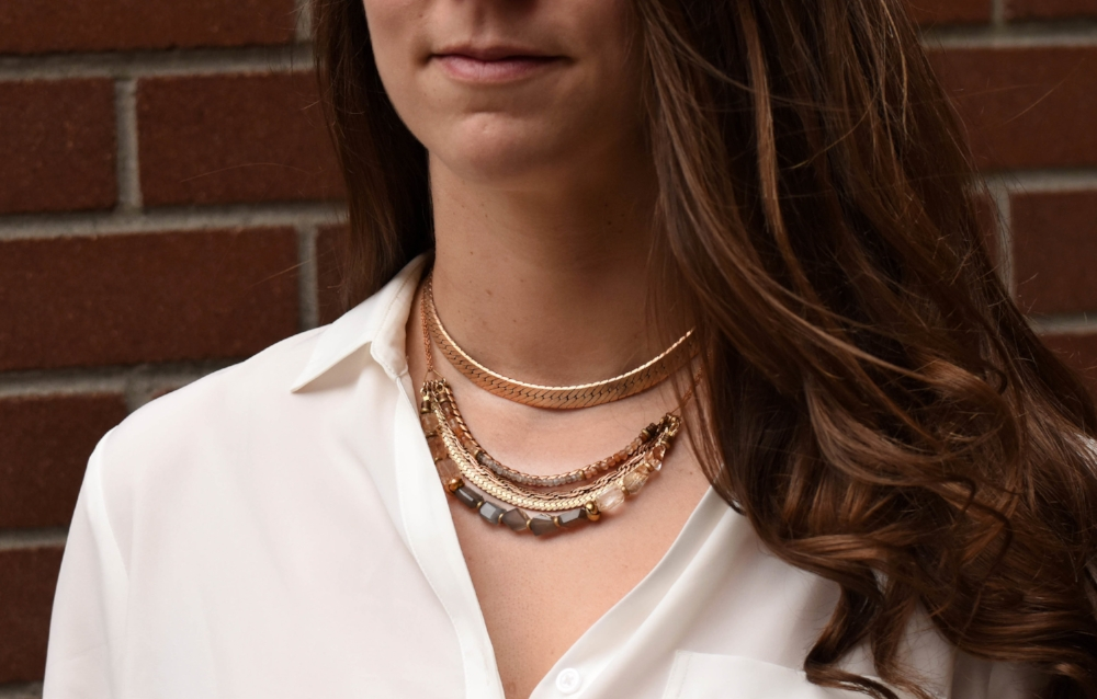 Here we have layered the   Lyssa Necklace   with the   Anahita Statement Necklace   in  Grey Moonstone  (with  Copper Rutilated Quartz ).