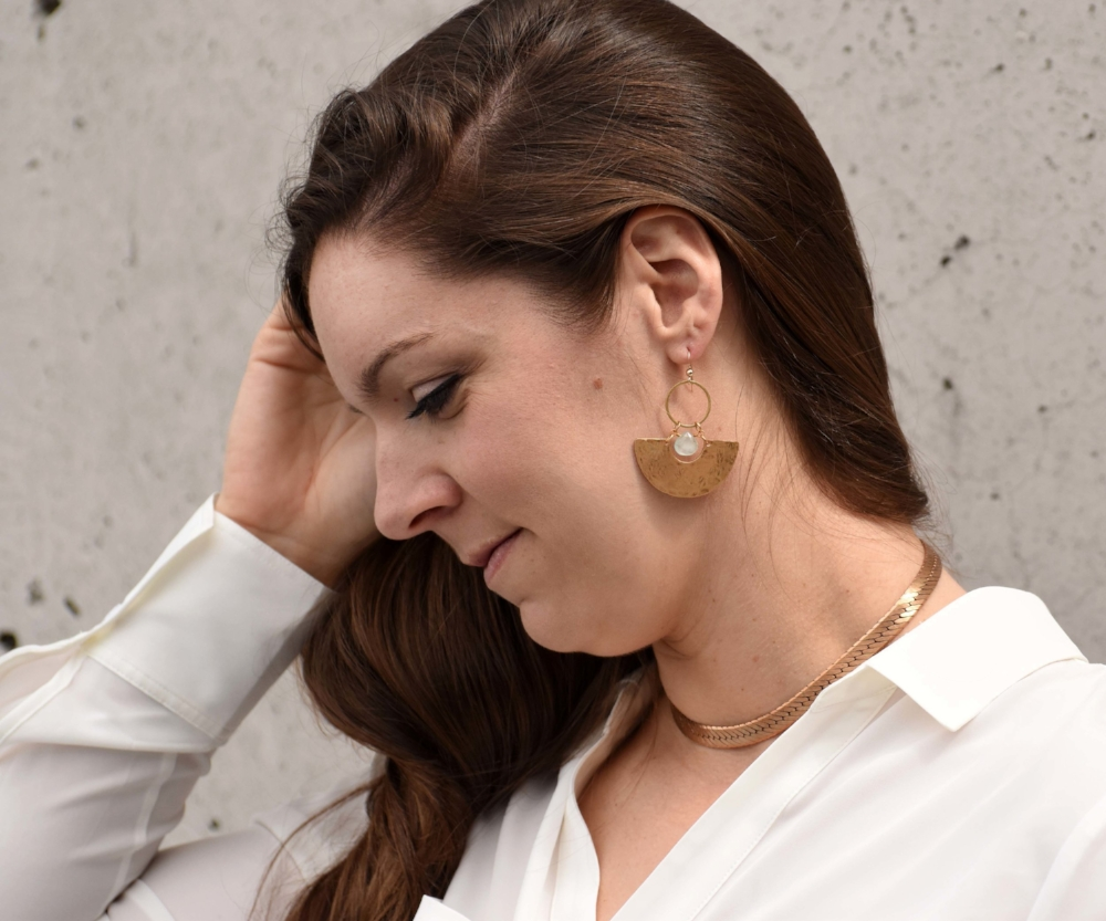 And the   Lyssa Necklace   with   Thalia Statement Earrings   in  Aquamarine .  The  Thalia Earrings  feature hand-cut gemstones and brass that has been hand-hammered by Hailey in her Gastown, Vancouver studio.     Thanks for spending some time with us and now go have fun playing with all the different  style  and  layering  options for your   Hailey Gerrits Spring/Summer 2018   pieces!