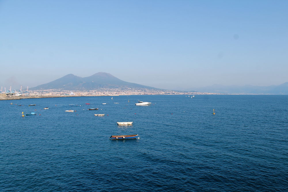 Vesuvius (!) over the Mediterranean. Last erupted in 1944. Still a bit too recent.