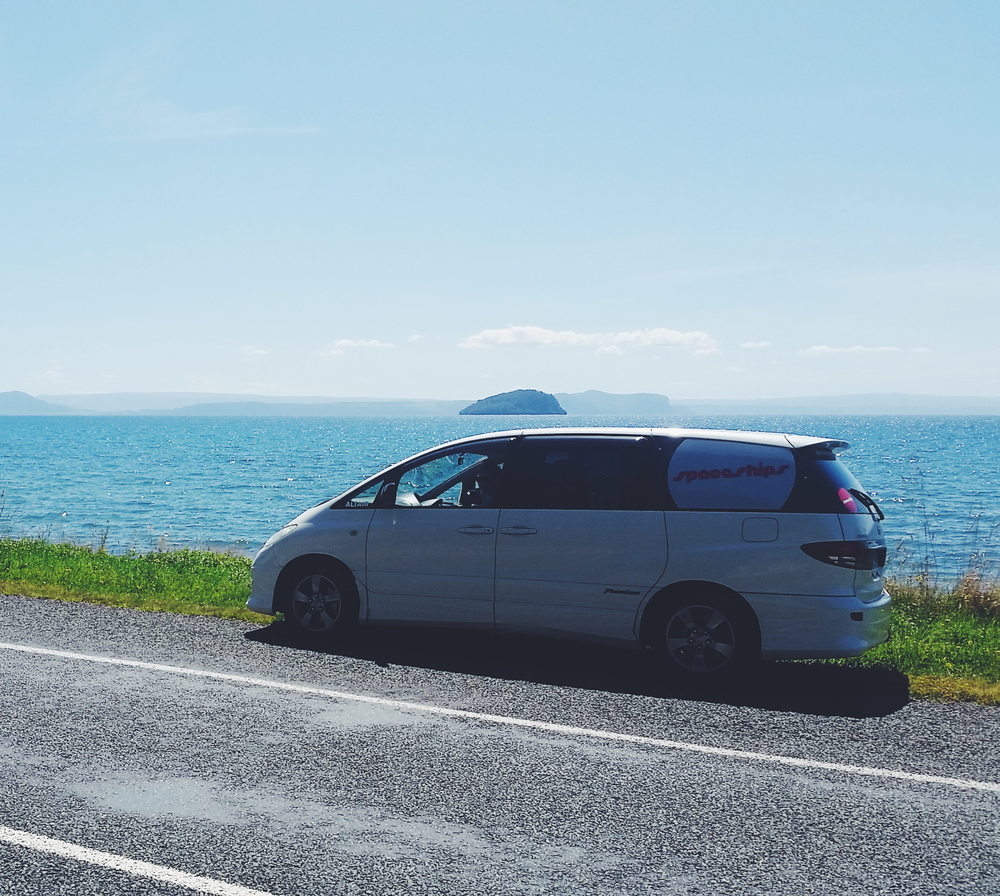 Parked on Lake Taupo.