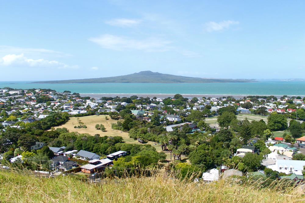 Rangitoto (volcanic island) off in the distance.