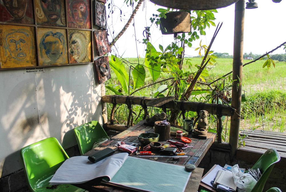 Artist workspace with a rice paddy view.