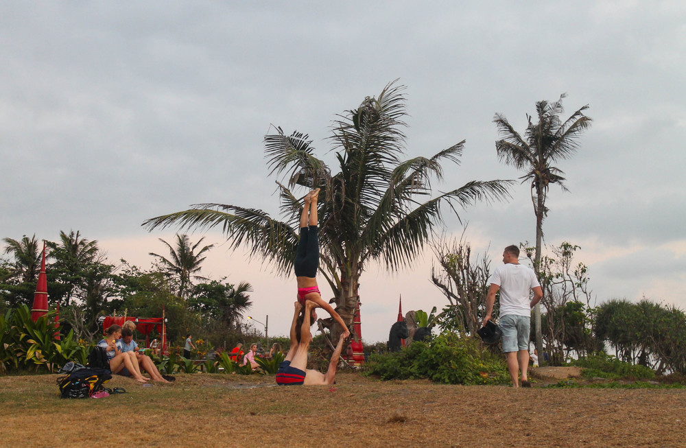 Acroyoga over Old Mans Beach.
