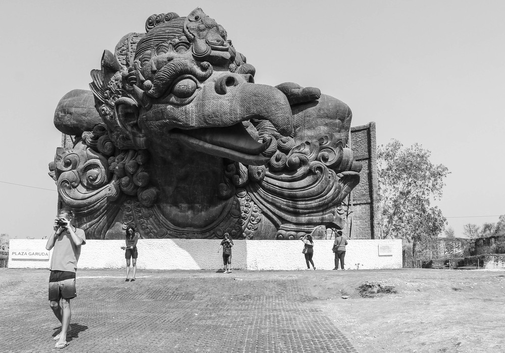 Vito + Garuda. The cultural park is built around the construction of a massive sculpture which, when complete, will be 390 feet tall (for comparison, the Statue of Liberty is 305 feet) and feature the Hindu God Vishnu riding his bird friend Garuda. The statue is very controversial as religious authorities say it will disrupt the spiritual balance of the land, it's 11 story entertainment complex's commercial nature is inappropriate and it's insanely expensive. It sounds like a pretty bad idea to me, but hey, you do you Bali.