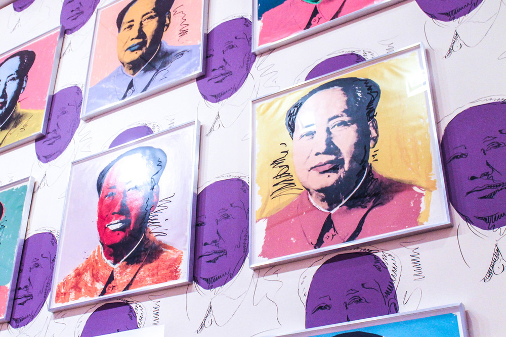 Warhol's Chairman Mao portraits. His idea for this began when his dealer suggested that Warhol return to painting by making portraits of the most important figure of the 20th Century and celeb-loving Warhol remembered that he read Mao Zedong was the most famous person in the world at the time.