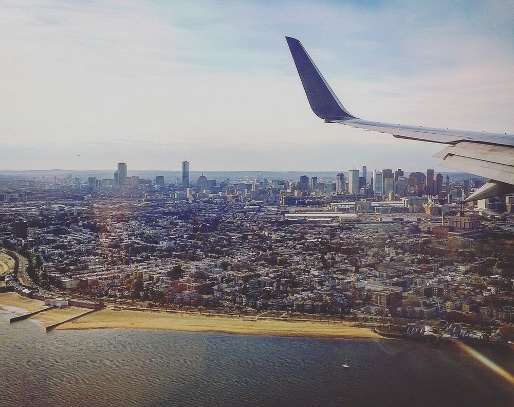 "Landing in Boston. I was overjoyed to see the Pru from the plane, but was simultaneously crying from watching the end of the movie ""Me, Earl and Dying Girl"" so it was a real rollercoaster of emotions."