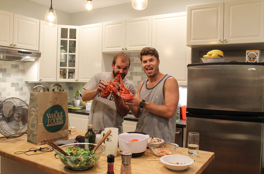 Jesse (my new friend and roommate) and Scott, prepping a lobster dinner.