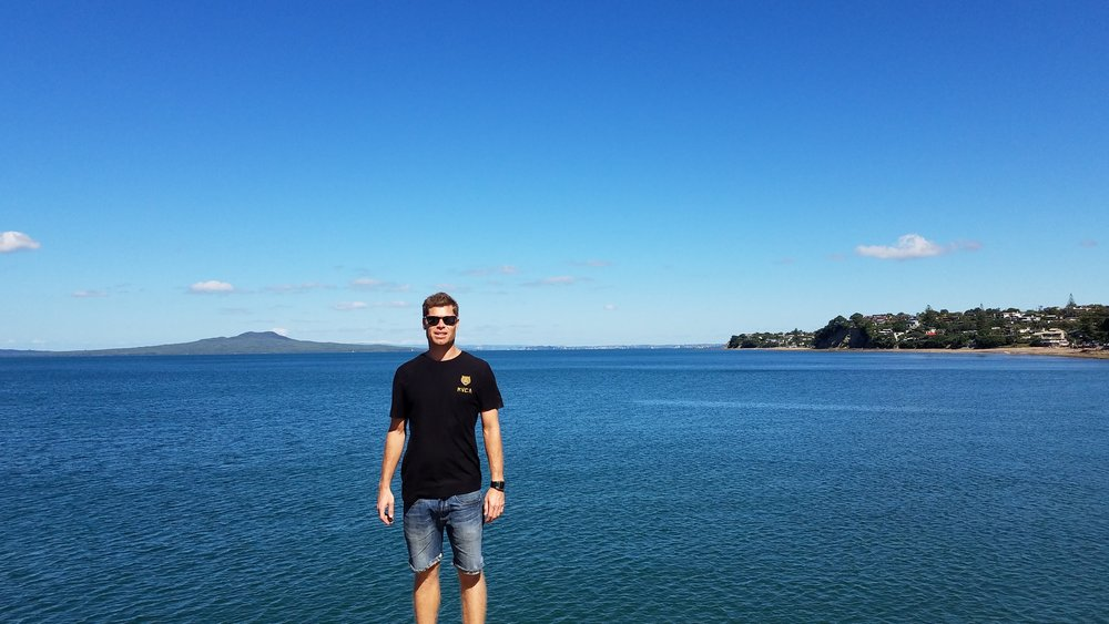 Scott and Rangitoto in the distance.