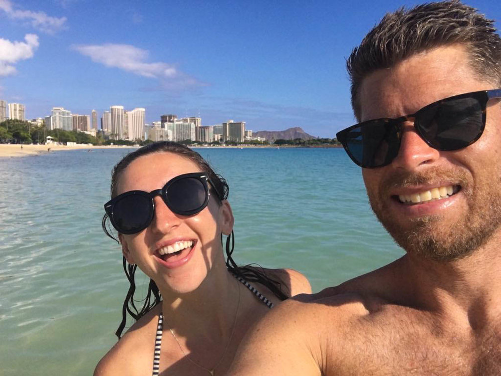Immediately after landing, we picked up our rental car and drove to a beach in Honolulu for an inaugural dip.