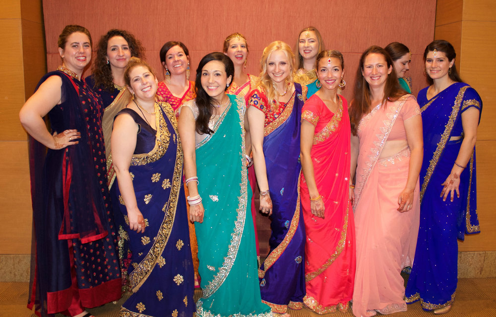 The American contingent of women. All very chipper despite our early mornings getting twirled and securely pinned into our saris.