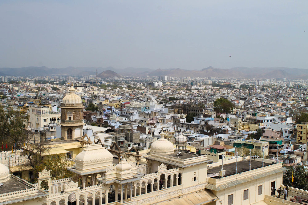 View over Udaipur from inside City Palace.