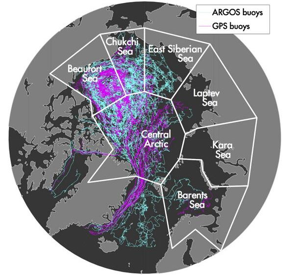 Tracks of over 700 drifters deployed in the Arctic from 2000-2010.