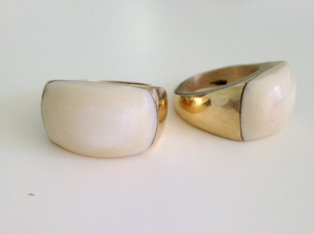 Plume Brass and Bone Ring