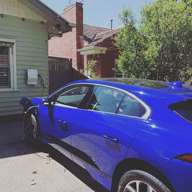 Stunning @jaguaraustralia #ipace fueling from home, with another install and happy customer. #EVs are the future because they are just more convenient.