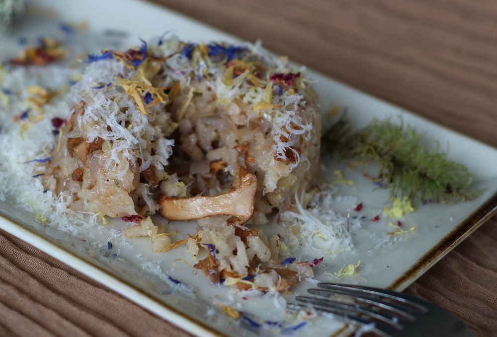 Chanterelle risotto that has been formed in a bowl and turned out onto a plate.  Garnished with freshly grated parmesan and edible flowers.  Recipe at ThreadandWhisk.com.