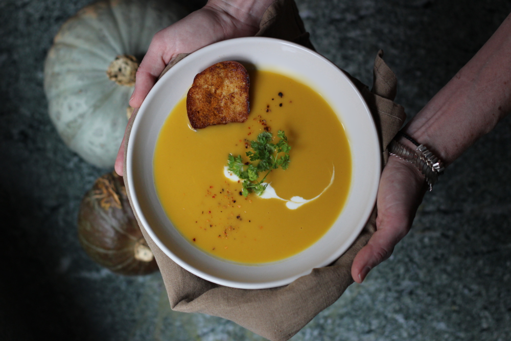 Autumn Squash Soup with brioche crouton