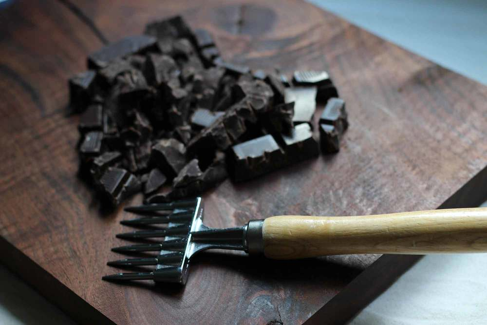Tools of the trade...an ice pick works great for breaking up dark chocolate.
