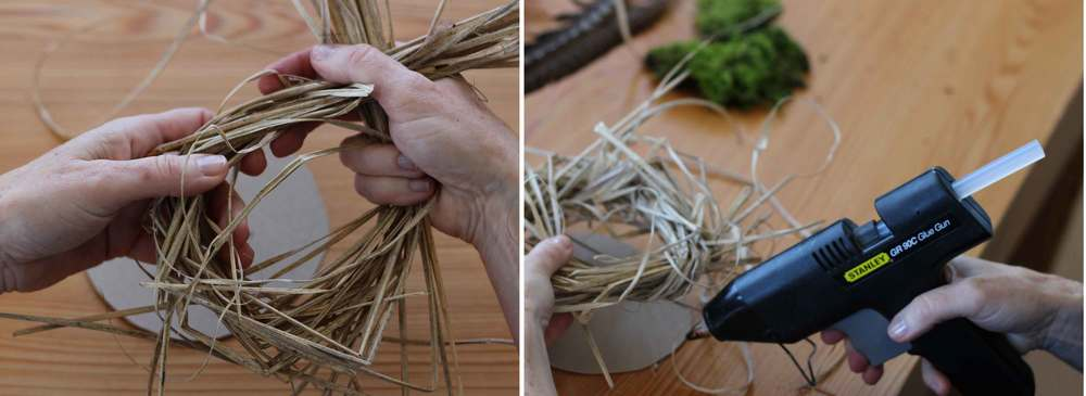 make a bird nest out of dried grasses, project by Thread & Whisk