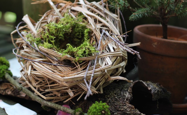 handmade bird nest in the garden