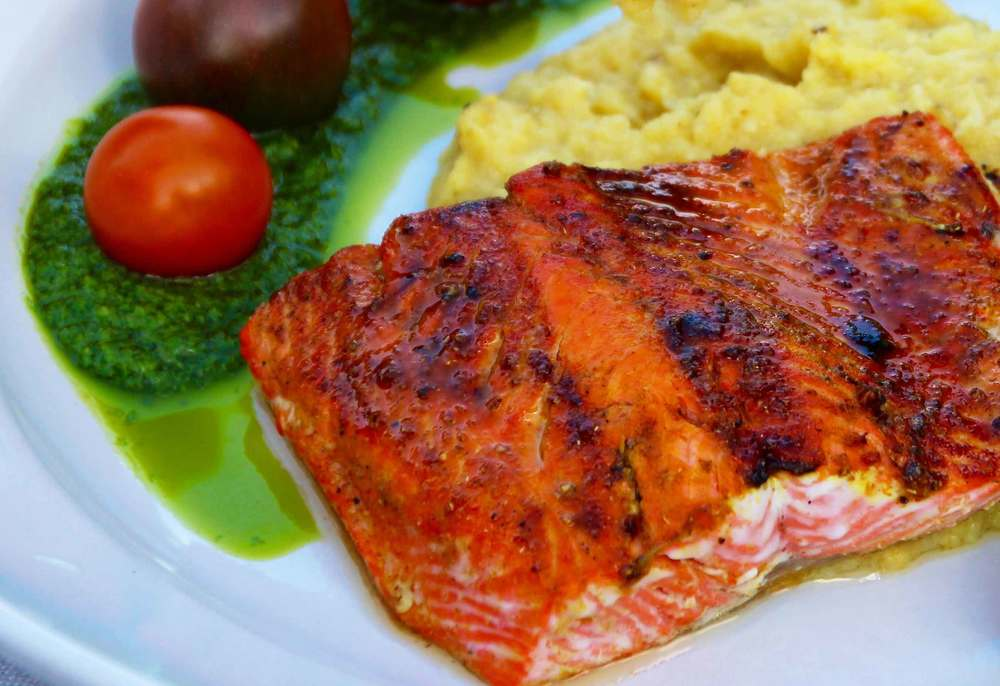 sockeye salmon with fresh polenta and basil oil, recipes from Thread & Whisk