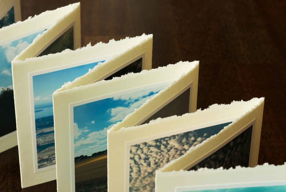 accordion photo book, deckled edge, cloud photos, project by Thread & Whisk project