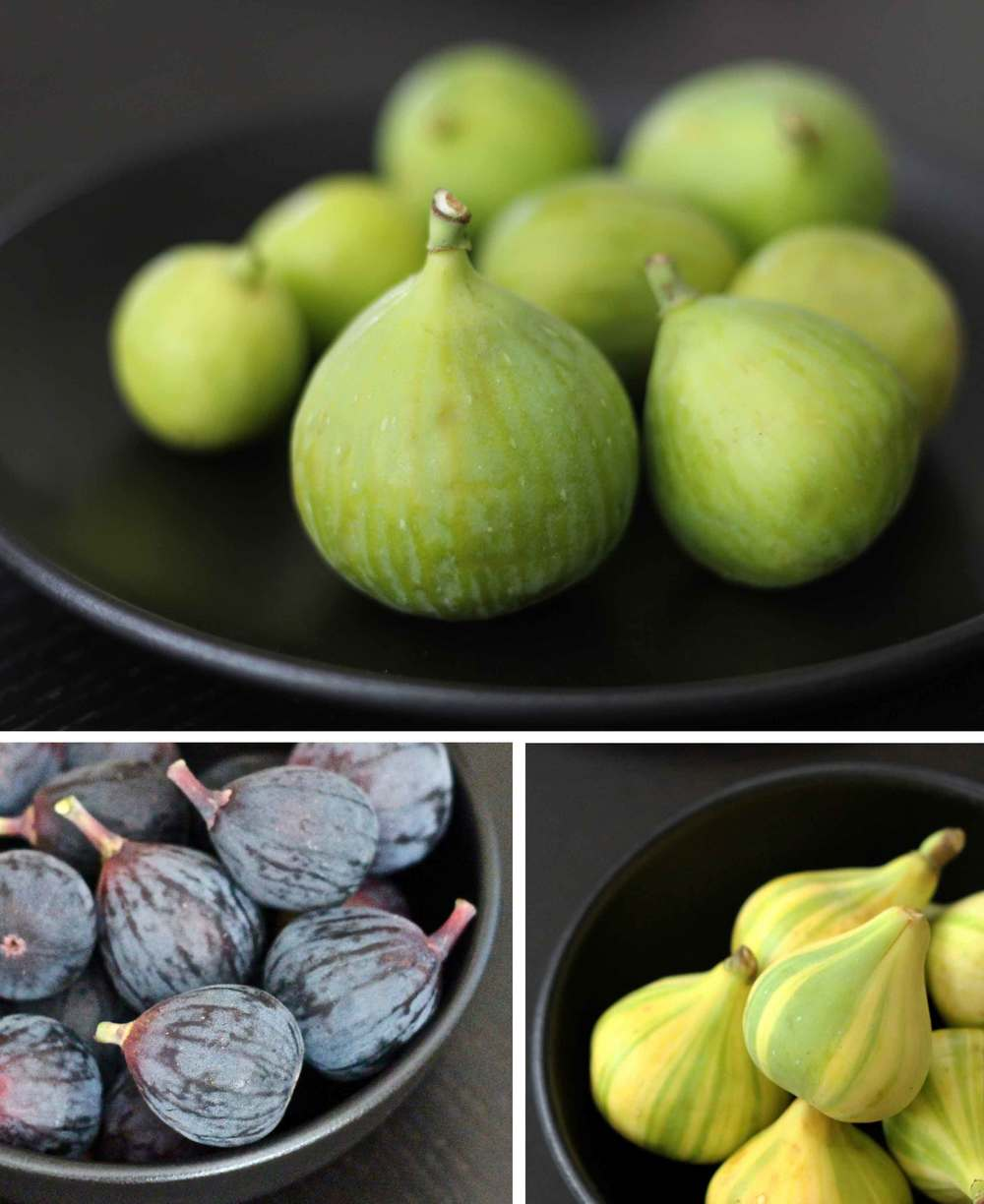 Clockwise from top:  Adriatic figs,   Panache figs, and   Black Mission   figs