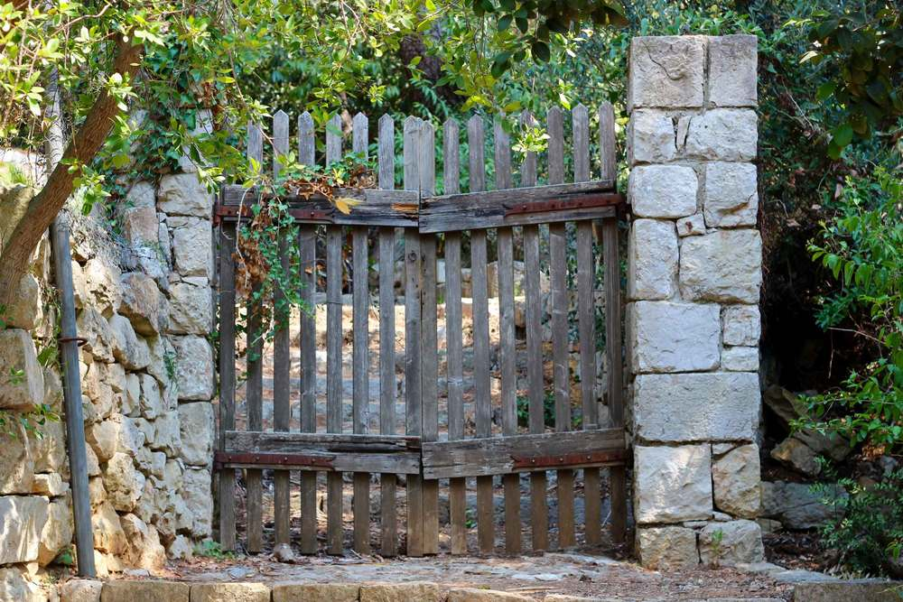 Wood Gate on Stone Wall