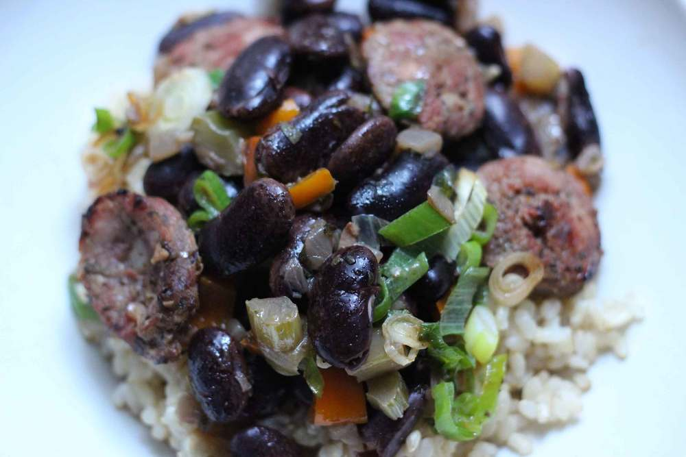 Scarlet Runner Beans and Rice recipe by Thread & Whisk, heirloom scarlet runner beans, andouille sausage