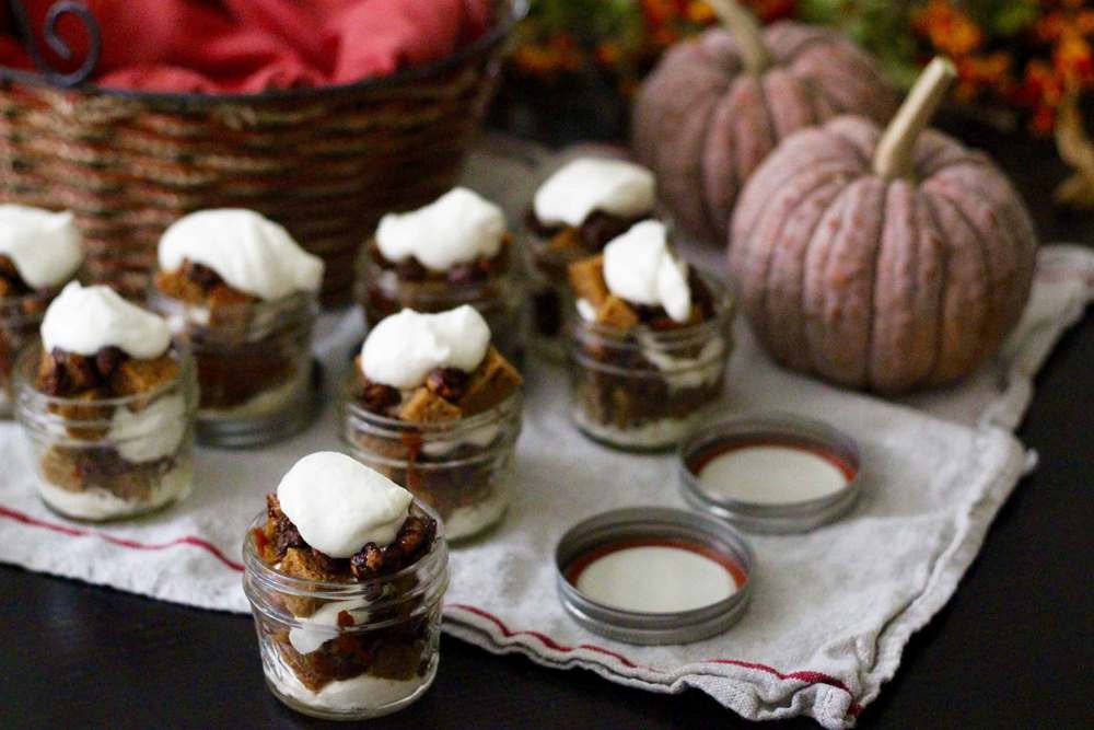 mini pumpkin trifles, ready to go to dinner club, recipe by Thread & Whisk