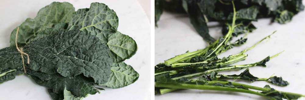 Removing the stems from kale cuts down on cooking time (and chewing time). Grasp the leaves in one hand and peel the stem right out.