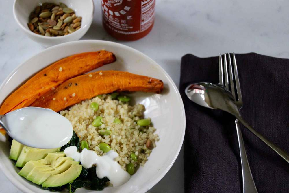 quinoa bowl with power veggies