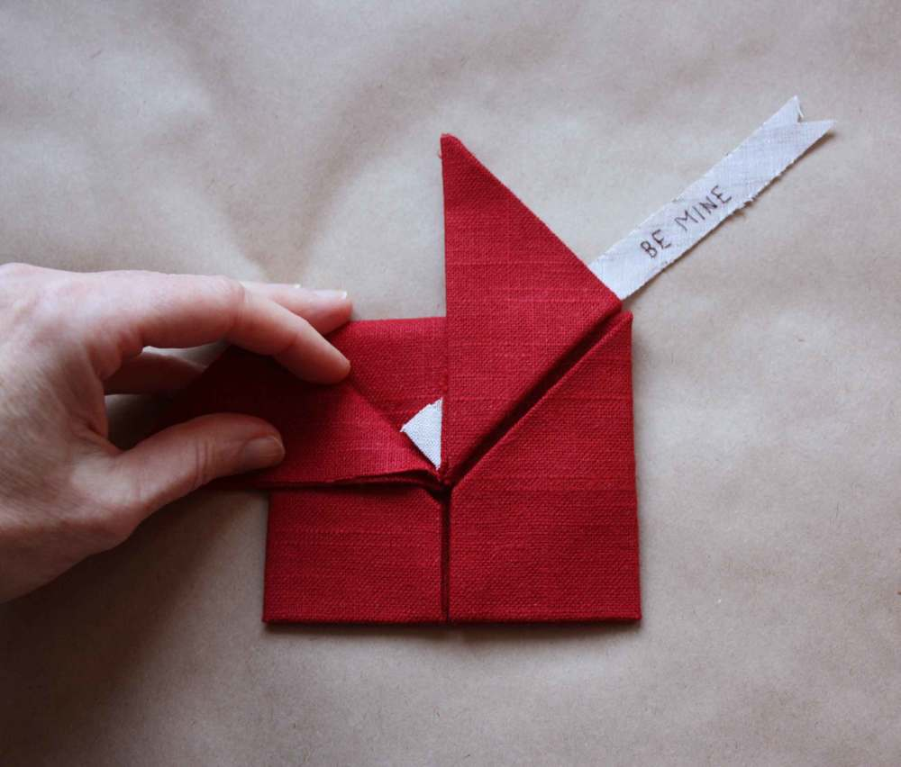 linen origami heart