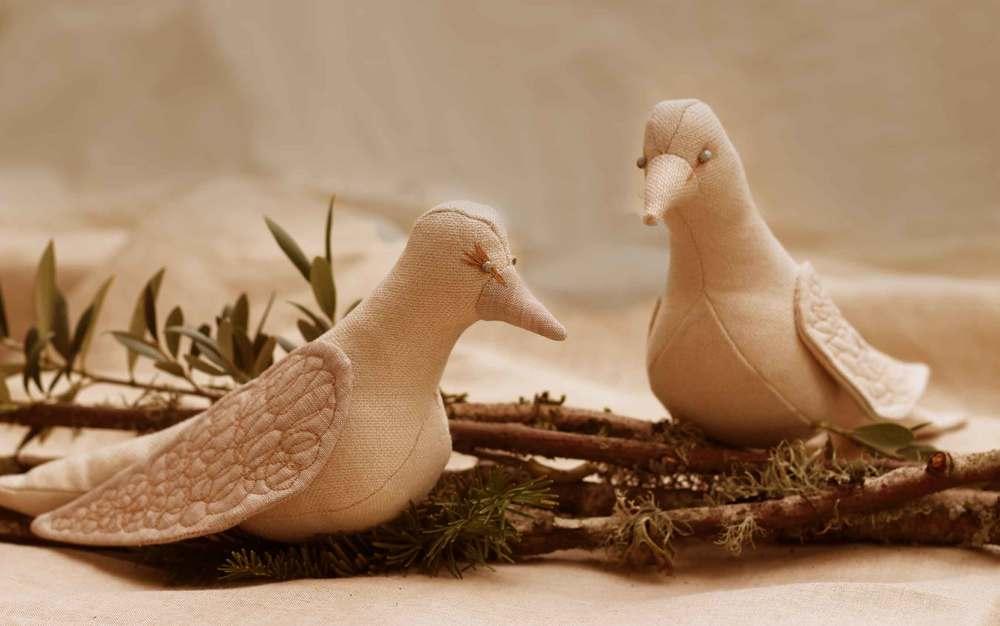 handmade linen doves