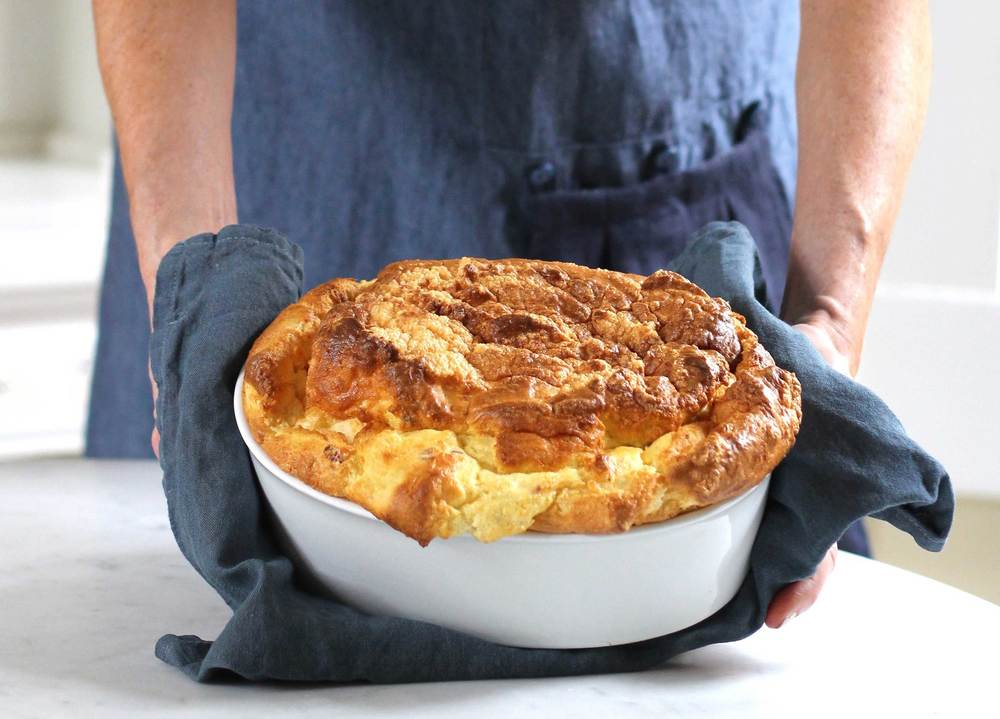 souffle with cheddar and bacon, recipe by Thread & Whisk