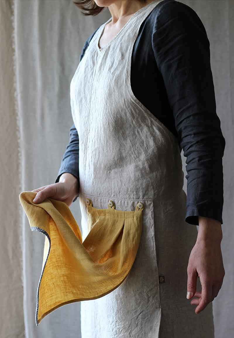 Thread & Whisk Grace Apron, Natural linen with Goldenrod Flounce to wipe your hands, Handmade in Portland, Oregon