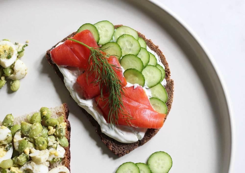 Salmon, Cucumber tartine, sandwich update by Thread & Whisk