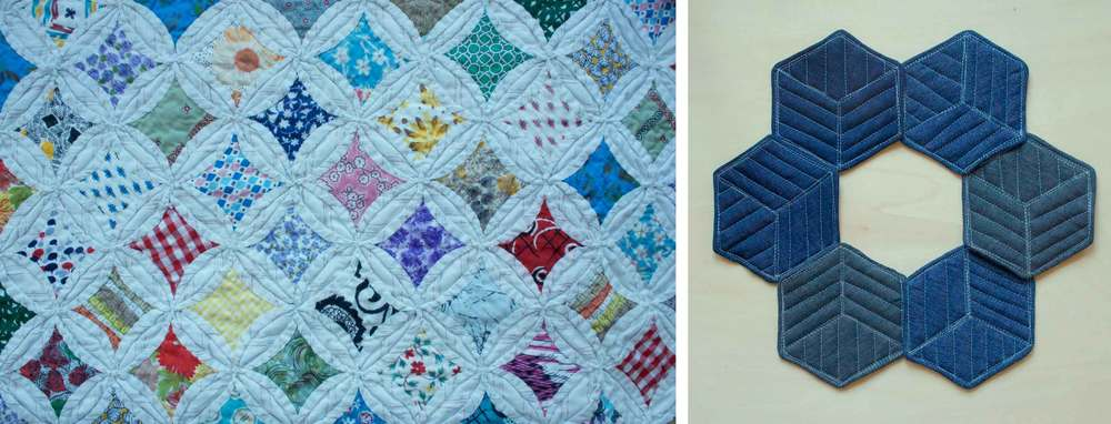 An heirloom quilt detail and modern quilted coasters.  Instructions for coasters at Thread & Whisk.